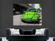 VW Beetle verde Auto d'epoca Guerra Muro Poster ART PICTURE PRINT Grande