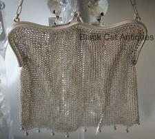 Vintage Original Glamorous Frame Flirty Sterling Silver Mesh Purse w/Ring #22