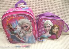 "Frozen Anna Elsa Olaf 10"" Backpack and Lunch Bag Lunchbox + Frozen Pen-New!v8"