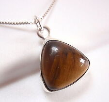 Tiger Eye Triangle 925 Sterling Silver Pendant Pyramid New
