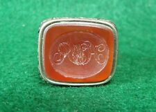 Antq 19th Century Victorian Silver Carnelian Intaglio Sealing Wax Stamp Seal Fob