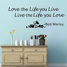 Love The Life You Live Bob Marley Quote Wall Decals PVC Art Sticker Home Decor