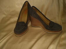 Michael Kors Dark Brown Suede Leather Wedge Heels Shoes Penny Loafers Size 9.5 M