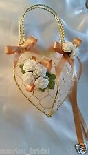 Bridesmaid/ Flower Girl, Small Gold Metal Bag Wedding,Bouquet,Gold Ribbons Ivory