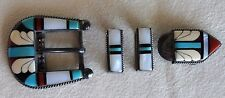 Vintage COOCHE Sterling Silver Inlay Butterfly Turquoise Ranger Belt Buckle Set