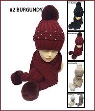 Studded Crystal Beanie Faux Fur Pom Pom Warm Winter Ski Beanie Hat Scarf Set