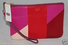 Fossil Giftable Patchwork Wristlet Pouch Red Multi SL4953995 NWT