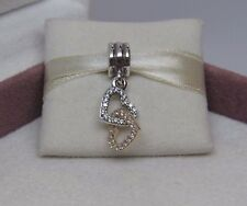 New w/Hinge Box Pandora Interlocked Hearts w/14kt Gold Charm 792068CZ Love