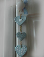 3 SHABBY CHIC STYLE hearts egg-duck blue