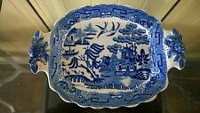 Lovely Georgian Early Willow Pattern Serving Dish with Molded Rose Handles
