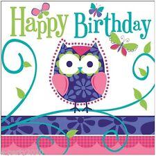 PATCHWORK OWL LUNCH NAPKINS (16) ~ 1st Birthday Party Supplies Dinner Serviettes