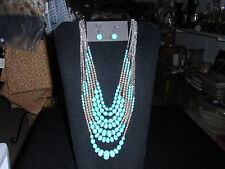 """Park Lane Jewelry, """"COSTA MESA"""" Necklace & Earrings,Turquoise & Silver, NEW!!!"""