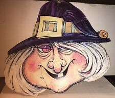Vintage Die Cut Halloween Witch Window Decoration 2 Sided 1960s