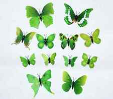 COLORFUL Green 3D Butterfly Art Decal PVC Butterflies Room Home Wall Stickers