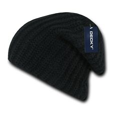 Black Braid Cable Sweater Winter Skull Warm Long Knit Slouch Beanie Beanies