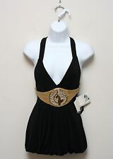 BABY PHAT Black Halter Knit Top Gold Belt Decal Size S NWT