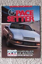 BOOKLET ~ 1987 CHRYSLER LE BARON ~ INDIANAPOLIS 500 PACE CAR