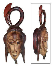 African Tribal Mask Hand Carved Wood Wall Decor 'Blessing Protection' NOVICA Art