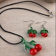 1 set of Necklace Pendant + Earrings Cherry Lampwork Glass RED GREEN