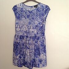 Topshop light blue and white lace dress lined size 12