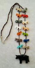 Zuni Style Black Horse Fetish Necklace 14 Smaller Horses Sterling Silver Clasp