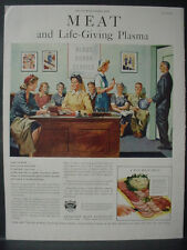 1944 Blood Drive Plasma American Meat Institute Food Vintage Print Ad 11939