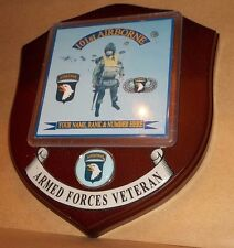 The 101st Airborne Veteran Wall Plaque personalised.