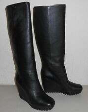 GUCCI Leather Knee High Tall Platform Wedge Boot Sz 41 (US 11) ~ Black ~ NIB