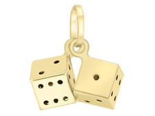 9ct Oro Giallo Solido Mini Pendente Charm Dadi UK + Regalo Gratuito