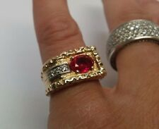 Heavy Vintage Solid 14k Gold Estate Ruby & Diamond Men's Pinky Ring Size 7