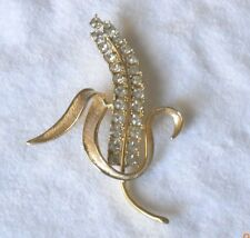 Vintage Sarah Coventry Large Corn Husk Gold Tone w/Rhinestones Pin/Brooch