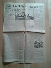VINTAGE DAILY TELEGRAPH. WW2- Feb 16th 1942- Premier announces fall of Singapore