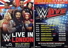 2 X WWE LIVE WRESTLING FLYERS NOVEMBER 2016 TOUR DATES AND LONDON O2