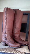 Vintage FRYE Campus Riding Braided Brown Leather Tall Boots 8B