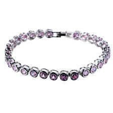 6MM Round Pink Sapphire CZ Tennis Bracelet 10KT White Gold Filled Women Jewelry