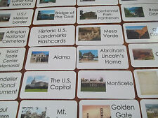 59 US Historical Landmarks Laminated Flashcards.  Geography, History, educationa