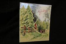 Vintage HORSE DRAWN SLEIGH Christmas Card c. 1930s