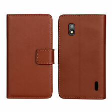 Brown Genuine Leather Card Wallet Case Cover Stand For Google LG Nexus 4 E960