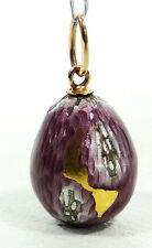 IMPERIAL RUSSIAN GUILLOCHE ENAMEL SILVER GOLD NECKLACE MINIATURE EGG PENDANT