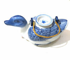 Duck Teapot in Blue and White Porcelain Hand Painted