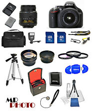 Nikon D5200 Digital SLR Camera Black +3 Lens: 18-55mm VR Lens + 32GB Bundle​ NEW
