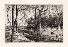 "Nice R. S. CHATTOCK ORIGINAL1800s Etching ""Rosy Plumelets Tuft the Larch"" COA"
