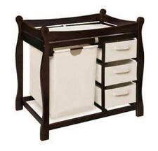 Badger Basket Espresso Sleigh Style Changing Table with Hamper/3 Baskets 02405