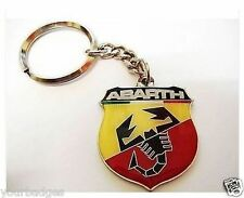 New CHROME Metal Abarth Badge Keyring key chain Punto 500