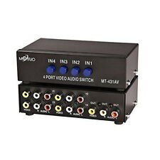 4-Way AV Switch RCA Switcher 4 In 1 Out Composite Video L/R Audio Selector