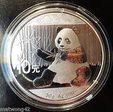 ** 30 grams Silver CHINESE PANDA 2017 CHINA .999 10 YUAN CAPSULATED Bullion **