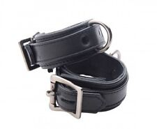 STRICT LEATHER CUFFS LUXURY wrist hand restraints locking buckle Premium BLACK