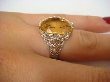 ANTIQUE ART-DECO 7 CARAT CITRINE LADIES RING, FILIGREE SETTING, 4.1 GRAMS,SIZE 5