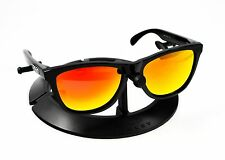 OAKLEY FROGSKINS POLISHED BLACK FRAME W/ REVANT FIRE RED POLARIZED LENSES