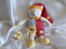 Doudou chat, souris, blanc, grenat, jaune, bleu et orange, Baby Nat, (Babynat)